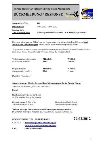 Registration for int. Participants Editors international 2012