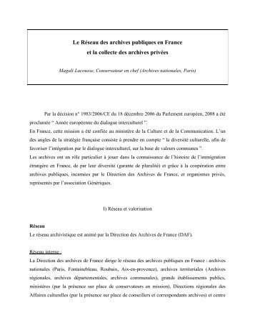 Le Réseau des archives publiques en France et la ... - Génériques