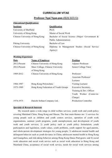 CURRICULUM VITAE - hcyuen@swk.cuhk.edu.hk - The Chinese ...