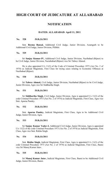 high court of judicature at allahabad notification