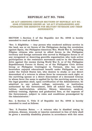 REPUBLIC ACT NO 7696