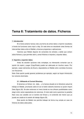 Tema 8: Tratamiento de datos. Ficheros