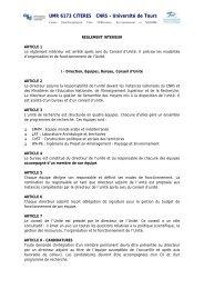 UMR 6173 CITERES CNRS - Universit de Tours
