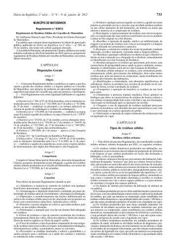 Regulamento de Resíduos Sólidos do Concelho de Matosinhos