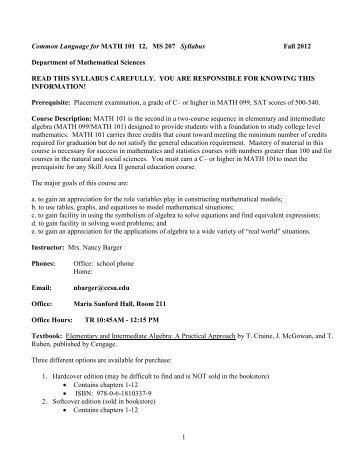 Common Language for MATH 101 Syllabi - Department of ...
