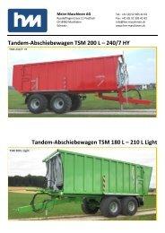 Demmler Tandem-Abschiebewagen TSM 200 L - Meier Maschinen AG