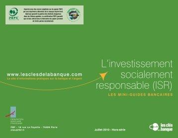 L'investissement socialement responsable (ISR) - AFG