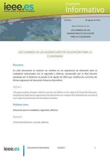los cambios en las asignaturas de educación para la ... - IEEE