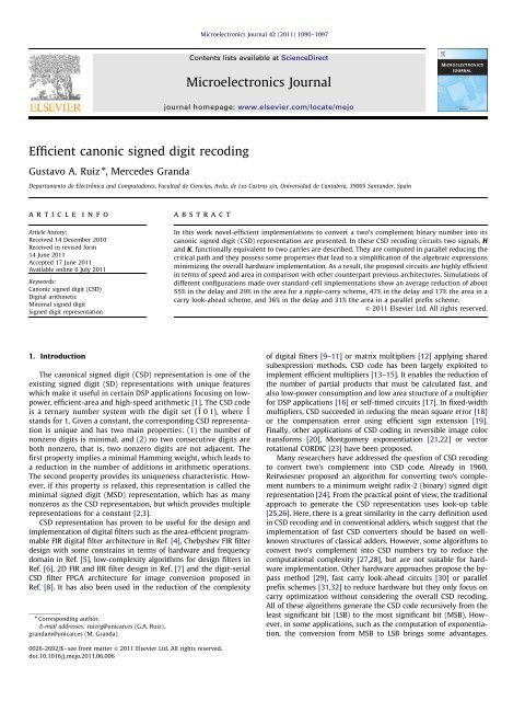 Efficient canonic signed digit recoding - Universidad de Cantabria