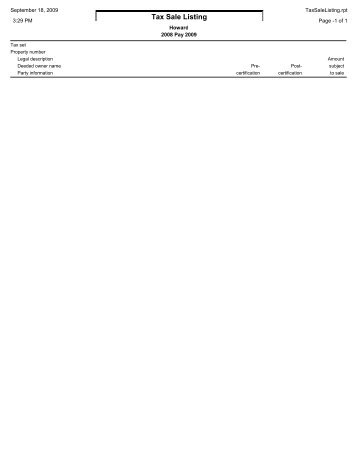 Tax Sale Listing - Howard County, Indiana