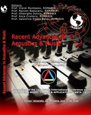 RECENT ADVANCES in ACOUSTICS & MUSIC ... - Wseas.us