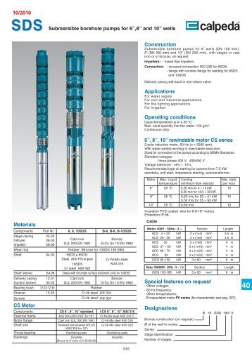 "Submersible borehole pumps for 6"",8"" and 10"" wells Construction ..."
