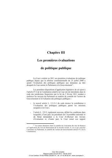Les premières évaluations de politique publique - Cour des comptes