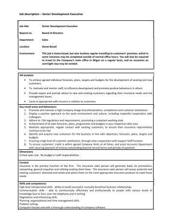 description – Senior Development Executive - wcib intranet