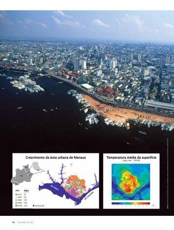 Temperatura média da superfície Crescimento da área urbana de ...