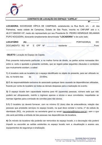 """CONTRATO DE LOCAÇÃO DO ESPAÇO """"CAPELA"""" - Sociedade ..."""