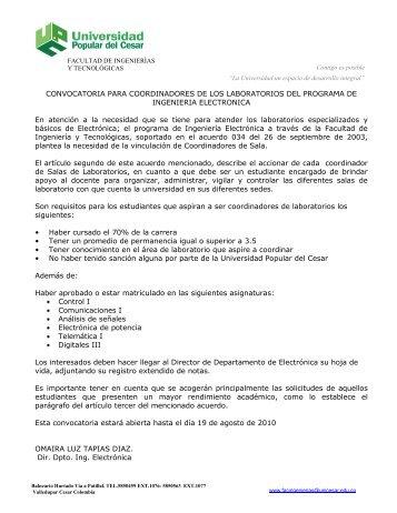 convocatoria - Universidad Popular del Cesar