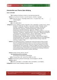 Literaturliste zum Thema Cyber-Bullying