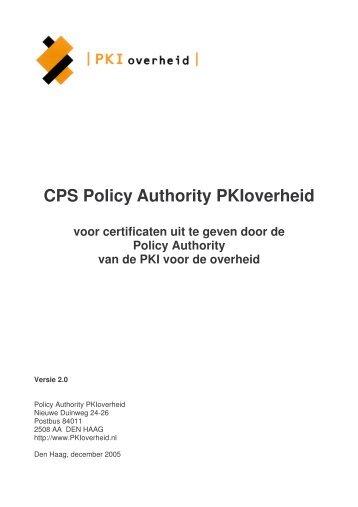 CPS PA PKIoverheid v2.0 - Logius