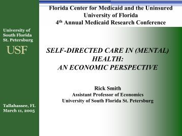 Self-Directed Care in (Mental) Health- An Economic Perspective