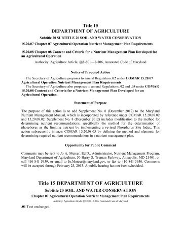 Title 15 DEPARTMENT OF AGRICULTURE - Maryland Department ...