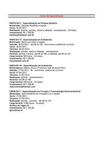 Cursos de Especialização PROTE/2011 – Especialização ... - APCD