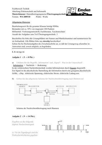 Musterklausur 09/10 - Technik