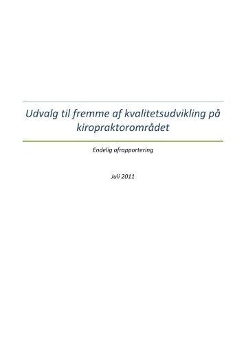 anbefalinger og afsluttende rapport - Dansk Kiropraktor Forening