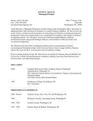 Justin McLean CV - Analysis Group