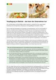 Verpflegung im Betrieb – das kann der Unternehmer tun - Institut für ...