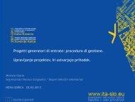 Progetti generatori di entrate - Cooperazione Territoriale Europea
