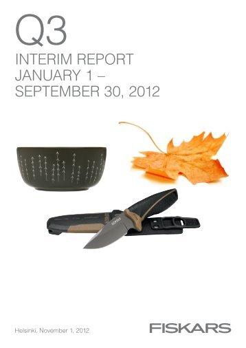 interim report january 1 – september 30, 2012 - Fiskars Corporation