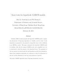 Score tests for hyperbolic GARCH models - The University of Hong ...