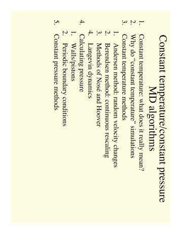 Constant Temperature/Constant Pressure: MD Algorithms - Chemistry