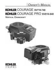 COURAGE PRO SV810-840 - Kohler Engines