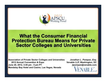 What the Consumer Financial Protection Bureau ... - Venable LLP