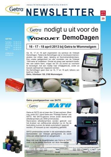 April 2013 : Getra Newsletter 29 - van aerden group