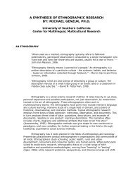 A SYNTHESIS OF ETHNOGRAPHIC RESEARCH BY: MICHAEL ...