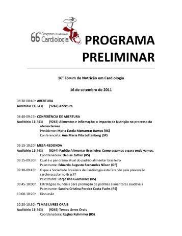 16° Fórum de Nutrição em Cardiologia - 66 Congresso Brasileiro de ...