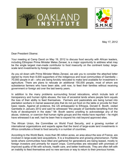 May 17, 2012 Dear President Obama: Your     - Oakland Institute