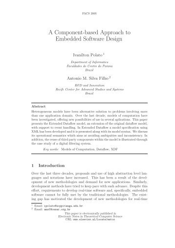 A Component-based Approach to Embedded Software ... - UNU-IIST
