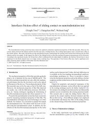 Interfaces friction effect of sliding contact on nanoindentation test