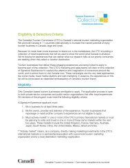 Criteria - Canadian Tourism Commission - Canada