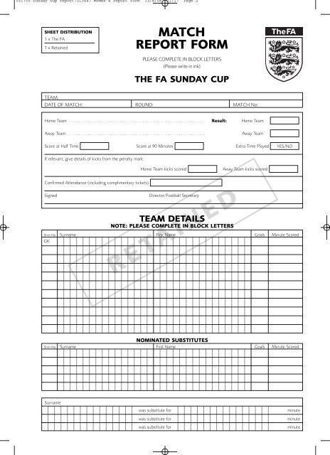 Match Report Form