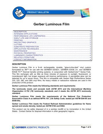 Gerber Luminous Film - Gerber Scientific Products