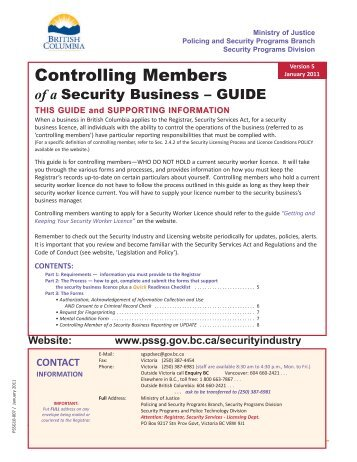 Controlling Members of a Security Business Guide - Ministry of Justice