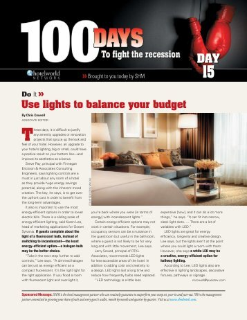 Use lights to balance your budget Do