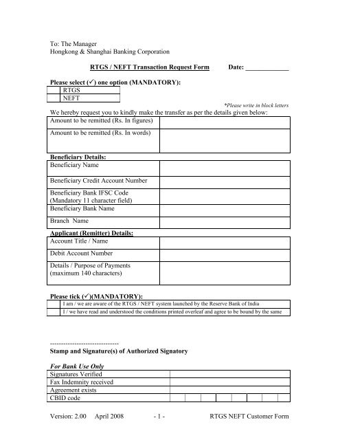 rtgs-neft-customer-form-to-hsbc Tcdc Application Form Axis Bank on