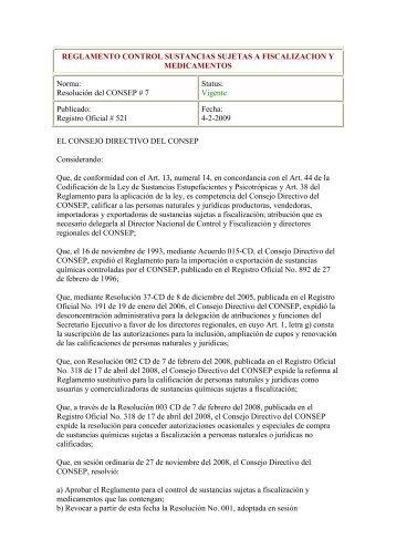 REGLAMENTO CONTROL SUSTANCIAS SUJETAS A ... - cicad