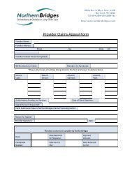 Provider Claims Appeal Form - Northern Bridges